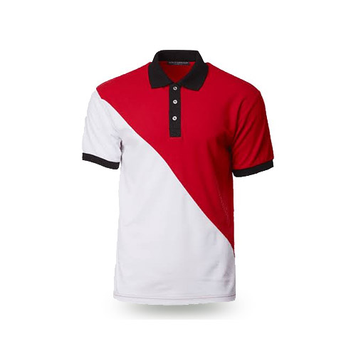 Black collar Red & White Polo Shirt