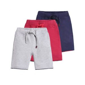 Grey,  Red and Blue cotton Shorts for kids