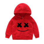 Red Smiley Hoodie for girls.