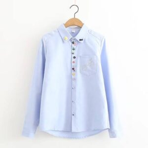 Sky-blue casual shirt for women