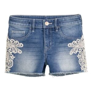 Jeans Shorts with Embroidery patch for girls.