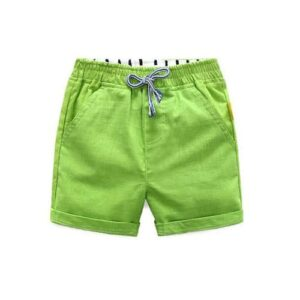 Parrot Green Cotton Shorts for girls