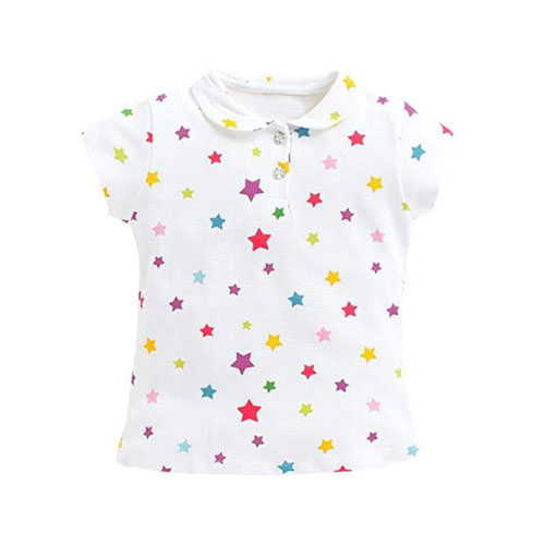 White color star design polo shirt for girls