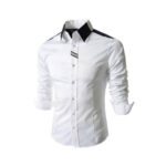 White With Black Color Casual Shirt for men