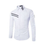 White with Black Style Casual Shirt for men