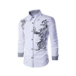 White casual shirt with black design for men