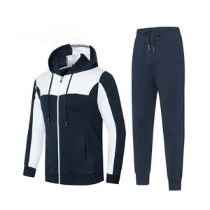 Navy Blue and White Striped Track Suit for Men.