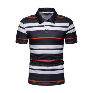 Black, White and Red Striped Polo Shirt for Men.
