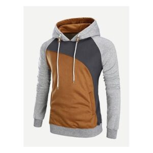 Brown and Grey Hoodie for Men.