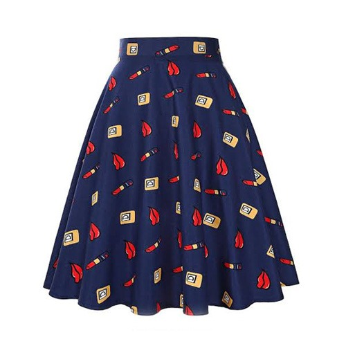 Blue Jersey Printed Skirt for Women.