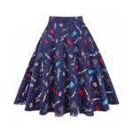 Pleated Blue Printed Skirt for Women.