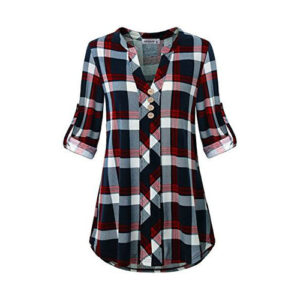 Red, Black & White Casual Shirt for women